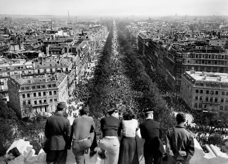 A celebration of Germany's surrender takes place on Paris' Champs Elysees, as seen from the top of the Arc de Triomphe ,on May 8, 1945..jpg