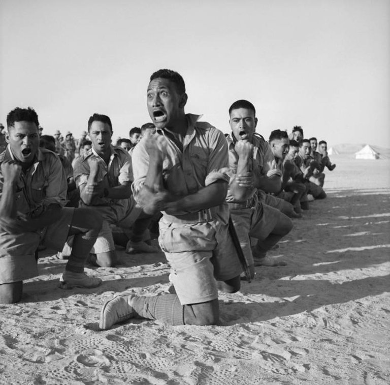 Māori soldiers from New Zealand perform a traditional war cry known as a haka in Helwan, Egypt, June 1941..jpg