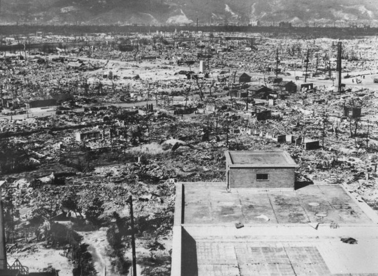 The devastated remains of Hiroshima, Japan just days after U.S. forces dropped an atomic bomb on the city, killing upwards of 140,000, on August 6, 1945..jpg